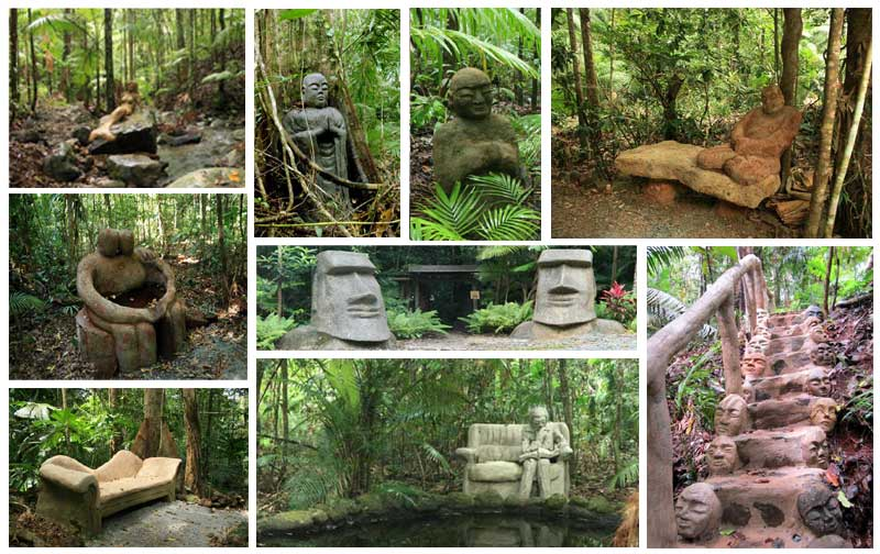 sculpture trail at Rainforest Hideaway